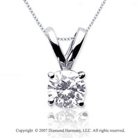 1 Carat Diamond Twin Bail 14k White Gold Solitaire Pendant