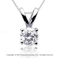 1 1/2 Carat Diamond Twin Bail 14k White Gold Solitaire Pendant