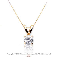 1/10 Carat Diamond Twin Bail 14k Yellow Gold Solitaire Pendant
