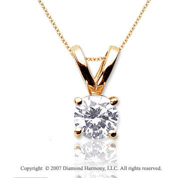 3/4 Carat Diamond Twin Bail 14k Yellow Gold Solitaire Pendant