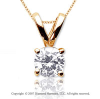1 1/2 Carat Diamond Twin Bail 14k Yellow Gold Solitaire Pendant
