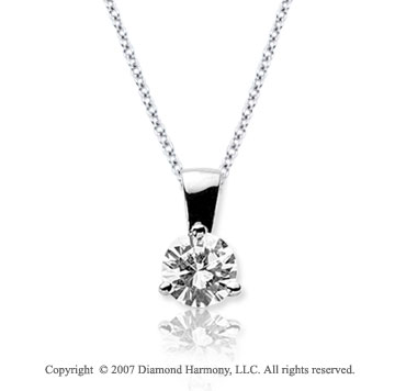 1/2 Carat Diamond Tri Prong 14k White Gold Solitaire Pendant