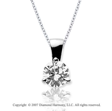 1 Carat Diamond Tri Prong 14k White Gold Solitaire Pendant