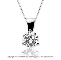 1 1/2 Carat Diamond Tri Prong 14k White Gold Solitaire Pendant