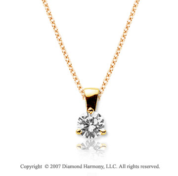 1/4 Carat Diamond Tri Prong 14k Yellow Gold Solitaire Pendant