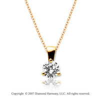 1/3 Carat Diamond Tri Prong 14k Yellow Gold Solitaire Pendant