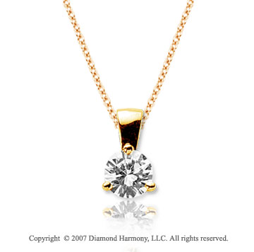1/2 Carat Diamond Tri Prong 14k Yellow Gold Solitaire Pendant