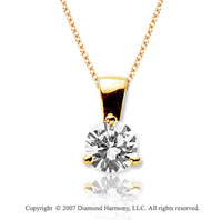 1 Carat Diamond Tri Prong 14k Yellow Gold Solitaire Pendant