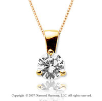 1 1/2 Carat Diamond Tri Prong 14k Yellow Gold Solitaire Pendant