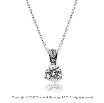 1/4 Carat Diamond Pave Bail 14k White Gold Solitaire Pendant