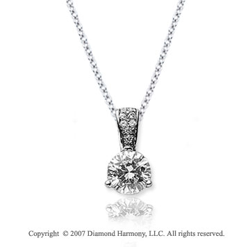 1/3 Carat Diamond Pave Bail 14k White Gold Solitaire Pendant