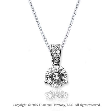 1/2 Carat Diamond Pave Bail 14k White Gold Solitaire Pendant