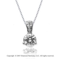 3/4 Carat Diamond Pave Bail 14k White Gold Solitaire Pendant
