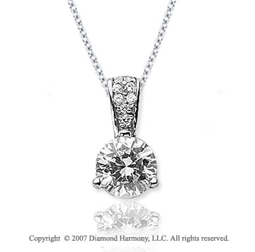 1 Carat Diamond Pave Bail 14k White Gold Solitaire Pendant
