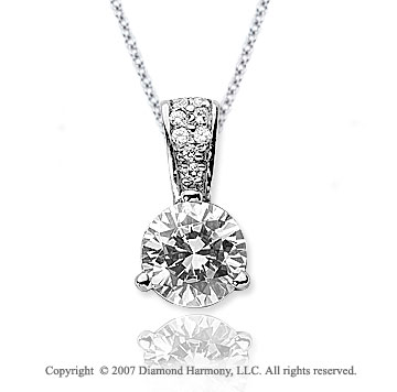 1 1/2 Carat Diamond Pave Bail 14k White Gold Solitaire Pendant