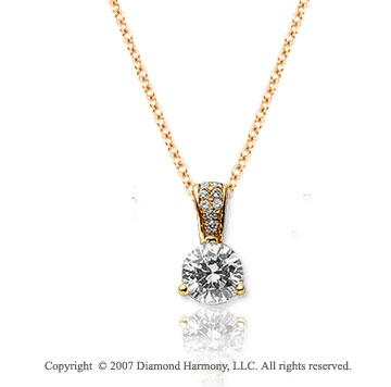 1/4 Carat Diamond Pave Bail 14k Yellow Gold Solitaire Pendant