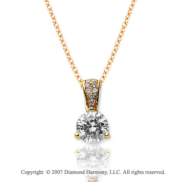 1/3 Carat Diamond Pave Bail 14k Yellow Gold Solitaire Pendant