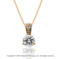 1/2 Carat Diamond Pave Bail 14k Yellow Gold Solitaire Pendant