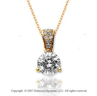 3/4 Carat Diamond Pave Bail 14k Yellow Gold Solitaire Pendant