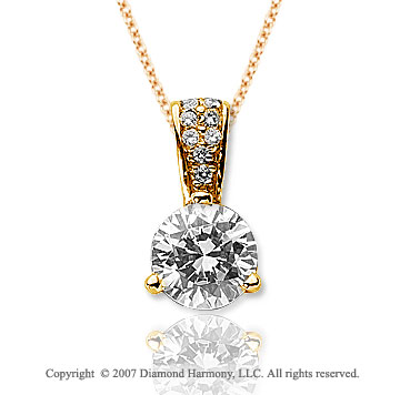 1 1/2 Carat Diamond Pave Bail 14k Yellow Gold Solitaire Pendant