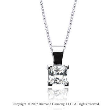 2/5 Carat Diamond Princess 14k White Gold Solitaire Pendant