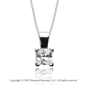 1/2 Carat Diamond Princess 14k White Gold Solitaire Pendant