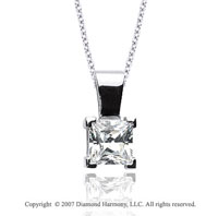 3/4 Carat Diamond Princess 14k White Gold Solitaire Pendant