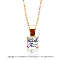 2/5 Carat Diamond Princess 14k Yellow Gold Solitaire Pendant