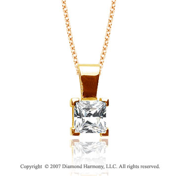 1/2 Carat Diamond Princess 14k Yellow Gold Solitaire Pendant