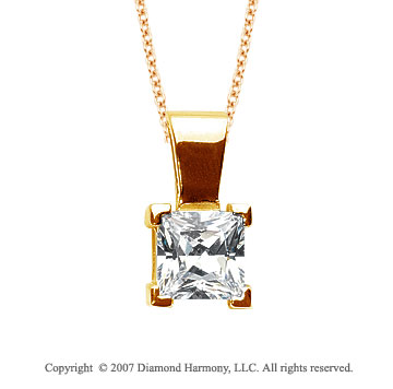 1 Carat Diamond Princess 14k Yellow Gold Solitaire Pendant