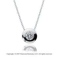 1/10 Carat Diamond Full Bezel 14k White Gold Solitaire Pendant