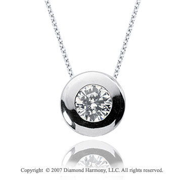 1/4 Carat Diamond Full Bezel 14k White Gold Solitaire Pendant