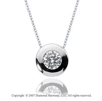 2/5 Carat Diamond Full Bezel 14k White Gold Solitaire Pendant
