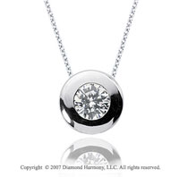 1/2 Carat Diamond Full Bezel 14k White Gold Solitaire Pendant