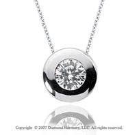 3/4 Carat Diamond Full Bezel 14k White Gold Solitaire Pendant