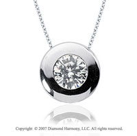 1 Carat Diamond Full Bezel 14k White Gold Solitaire Pendant