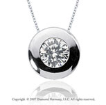 1 1/2 Carat Diamond Full Bezel 14k White Gold Solitaire Pendant