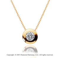1/10 Carat Diamond Full Bezel 14k Yellow Gold Solitaire Pendant