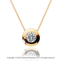 1/4 Carat Diamond Full Bezel 14k Yellow Gold Solitaire Pendant