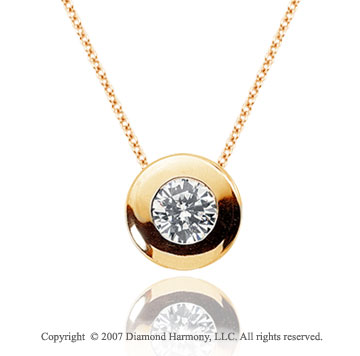 2/5 Carat Diamond Full Bezel 14k Yellow Gold Solitaire Pendant