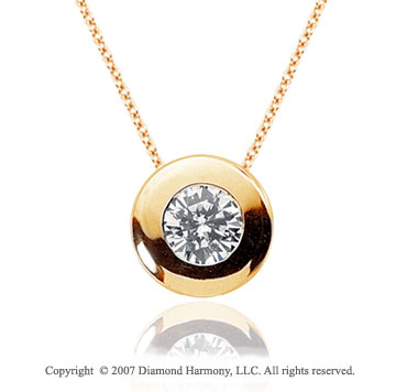 1/2 Carat Diamond Full Bezel 14k Yellow Gold Solitaire Pendant