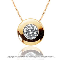 1 Carat Diamond Full Bezel 14k Yellow Gold Solitaire Pendant