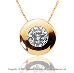 1 1/2 Carat Diamond Full Bezel 14k Yellow Gold Solitaire Pendant