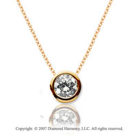 1/10 Carat Diamond Flat Bezel 14k Yellow Gold Solitaire Pendant