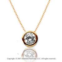 1/4 Carat Diamond Flat Bezel 14k Yellow Gold Solitaire Pendant