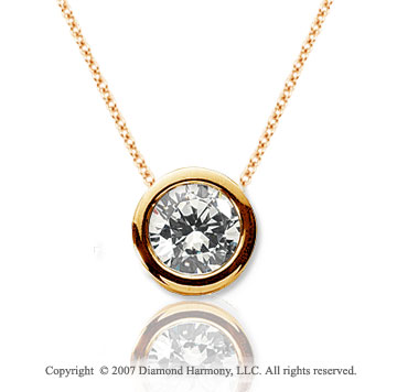 2/3 Carat Diamond Flat Bezel 14k Yellow Gold Solitaire Pendant
