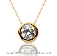 1 Carat Diamond Flat Bezel 14k Yellow Gold Solitaire Pendant