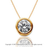 1 1/2 Carat Diamond Flat Bezel 14k Yellow Gold Solitaire Pendant