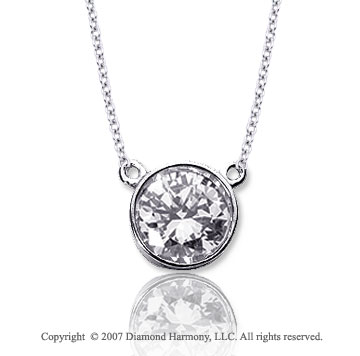 1 Carat Diamond Flat Loops 14k White Gold Solitaire Pendant