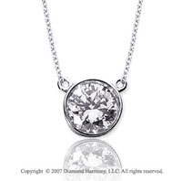 1 1/2 Carat Diamond Flat Loops 14k White Gold Solitaire Pendant